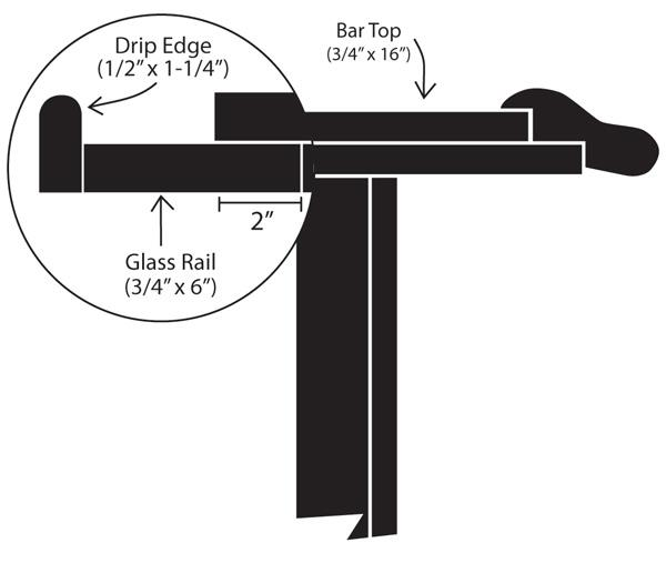 Drip Edge Bar Building Supplies Hardwoods Incorporated - Commercial bar dimensions standard