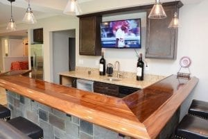 Custom Walnut Home Bar Top