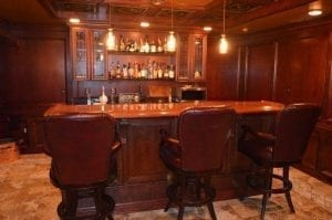 African Rosewood Home Bar and Bar Rail Moldings.