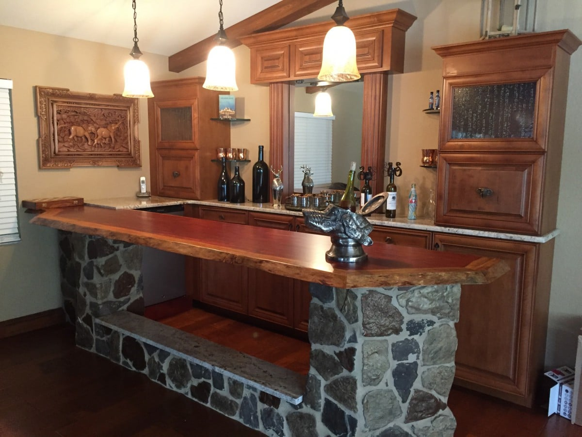 Pictured Is A Recently Completed Custom Home Bar For A Client In Fort Myers  Florida; This Bar Features A Natural Edge Bar Top Custom Crafted From A 2u2033  Thick ...