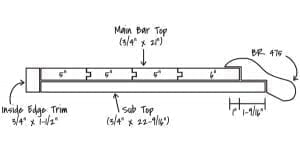 "21"" Bar Top Diagram without Glass Rail"