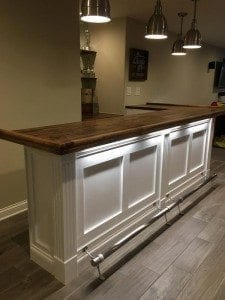 Home Bar with BR158 Bar Rail Molding, Fluted Columns & Trim