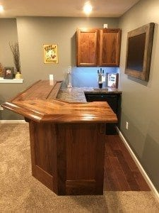 Finished Home Bar Using Walnut Bar Rail Molding.