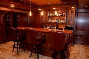 Custom Bar Created With Chicago Bar Rail in African Rosewood