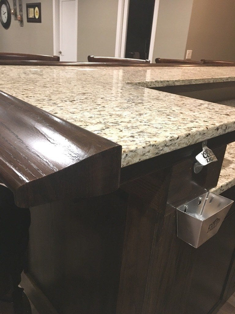 How to finish the end of a bar top bar rail hardwoods for Best bar top finish