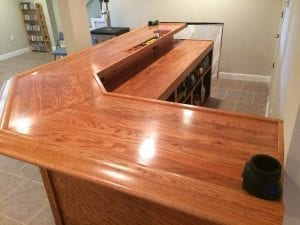 Solid oak home bar with BR475 Wood Bar Arm Rest Molding