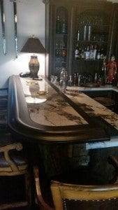 Custom Home Bar Top With Our Curved Bar Rail Molding