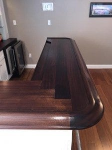 Solid Mahogany Home Bar top and painted wood bar front.