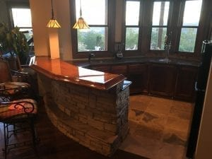 Home Bar Top With BR475 Wood Bar Arm Rest Molding.