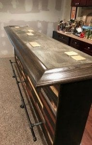 Custom home bar top featuring our BR550 Bar rail molding.