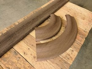 Custom Wenge Bar Rail Radius Corners and straights.