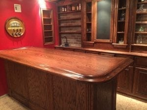 Custom Home bar and Bar Top nicely crafted in red oak.