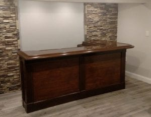DIY Home Bar front and bar top.