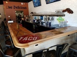 Large Commercial Bar Top Trimmed with our BR475 Bar Rail Moldings.
