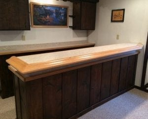 Home bar featuring the original Chicago bar rail molding.