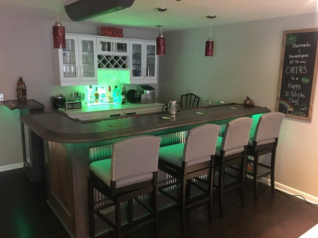 This L Shaped Home Bar Was Completed By Jeff R. In Elgin IL Using Our BR475  Bar Rail Moldings And Matching Radius Corner.