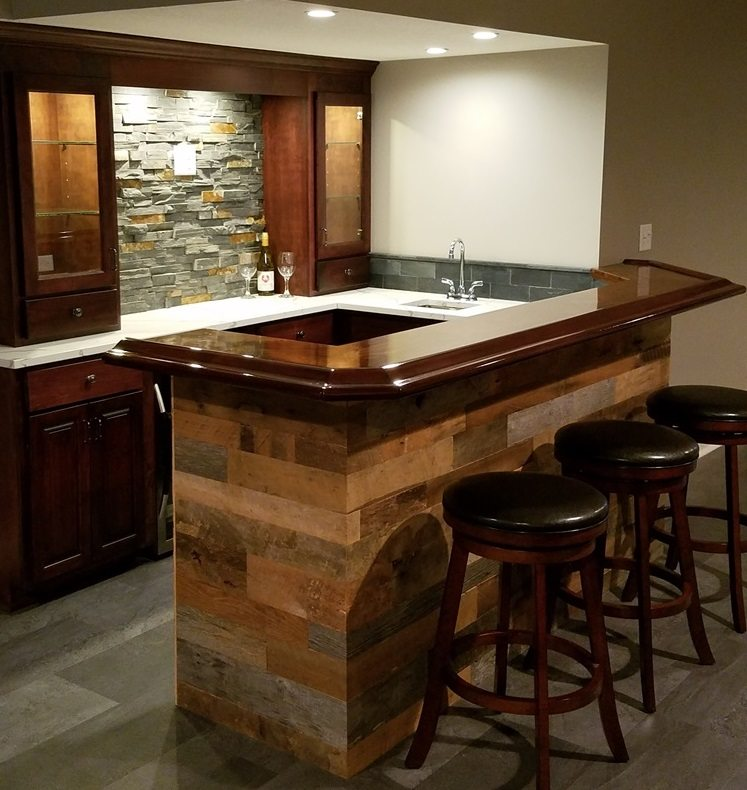 Beautiful Home Bar Top Slabs, Glass Rails, Drip Edges