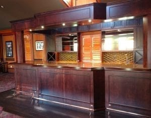 hardwood bar rail