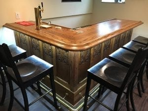 Home Bar with The Original Wood Bar Armrest Molding.