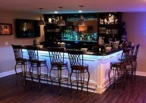 Home bar with Our Traditional Wood Bar Arm Rest Molding.