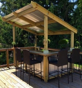 Outdoor deck bar trimmed with our BR450 Bar top rail molding.
