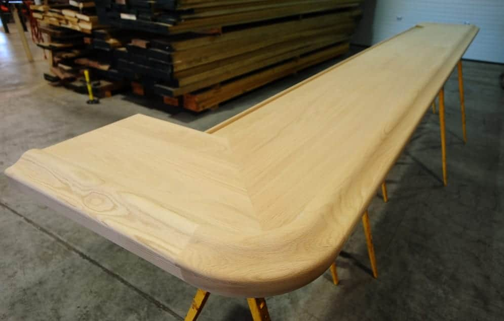 solid red oak bar top trimmed with our BR475-S Chicago bar rail molding