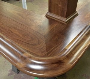 Curved Bar rail molding in American walnut