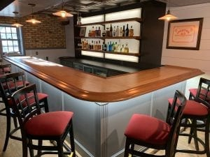 L Shaped Custom Home Bar.